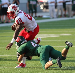 Adam Taylor rushed for more than 2,700 yards for No. 1 Katy, often running when everyone in the building knew he was going to get the ball. Photo by Thomas Lott/Courtesy Katy Times.